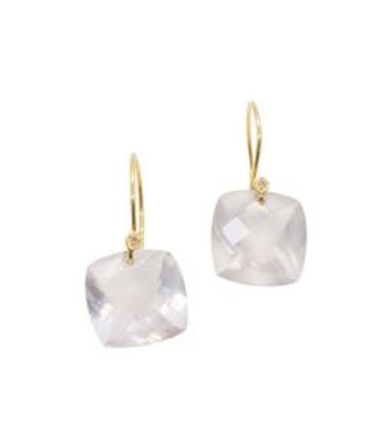 Rose,Quartz,cushion,18ct,Gold,Earrings,with,Diamonds,rose quartz earrings, drop earrings, drop diamond earrings, dormeuse earrings, 18K 18ct solid yellow gold, handcrafted earrings, catherine marche jewellery