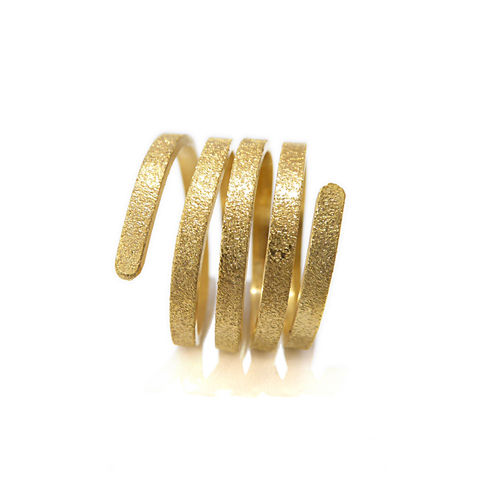 Twist,&,Curl,18ct,gold,Vermeil,ring,Twist Ring,curly ring, gold ring 3 rows, parallel rings, gold stacking rings, x factor jewellery, catherine Marche jewellery,bespoke jeweller London, gold plated silver, Vermeil jewelry, sanded texture