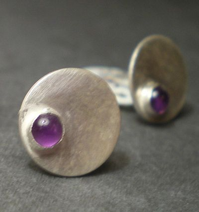 Dotty Spot Earrings sterling silver and purple Amethyst - product images  of
