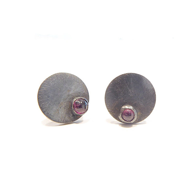 Oxidised Silver stud Earrings with red garnet - dotty collection - product images  of