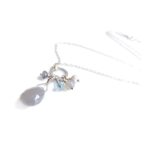Grey,Moonstone,Talisman,Cluster,Necklace,in,sterling,silver,925,Talisman necklace, cluster necklace, gery moontone, grey agate, blue apatite, necklace, talisman pendant, white baroque pearl, tear drop charm
