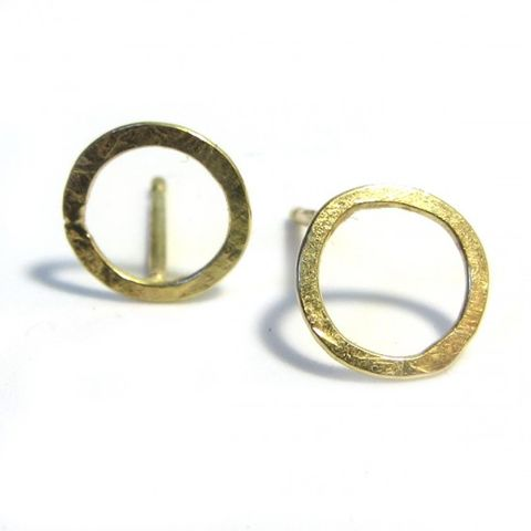 Small,open,Circle,18ct,18K,yellow,gold,Stud,Earrings,small gold hoops, hollow circle earrings, round gold earrings, large 18ct gold Stud Earrings, gold hoops, hoop earrings, large hoops, catherine marche london, fine bespoke jewellery, organic gold jewellery