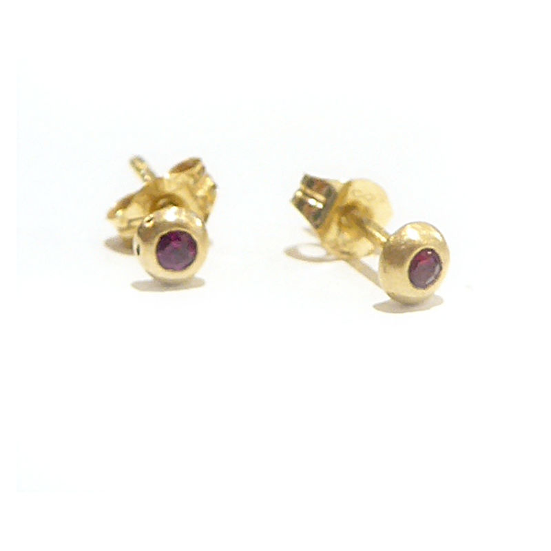Red Ruby and 18K 18ct yellow gold Stud Earrings - product images  of