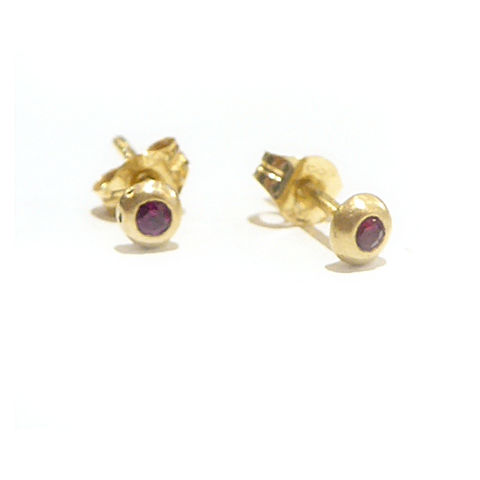 Red,Ruby,and,18K,18ct,yellow,gold,Stud,Earrings,ruby stud earrings, recycled gold jewelry, gold stud earrings, recycled gold, ruby earrings, 18K solid gold, catherine marche, designer jewelry, french designers