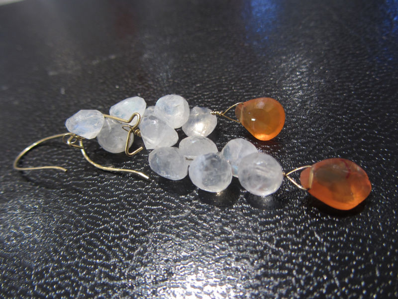 Blue Moonstone and Carnelian 18ct gold drop Earrings - product images  of