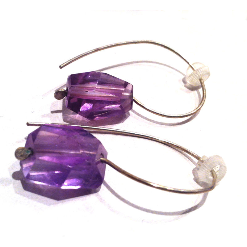 Rough Amethyst Nuggets Sterling Silver Drop Earrings - product images  of