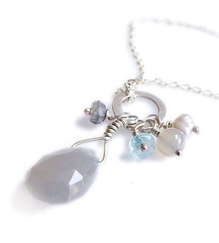 Misty,Grey,Moonstone,Talisman,Cluster,Necklace,in,sterling,silver,925,Talisman necklace, cluster necklace, gery moontone, grey agate, blue apatite, necklace, talisman pendant, white baroque pearl, tear drop charm