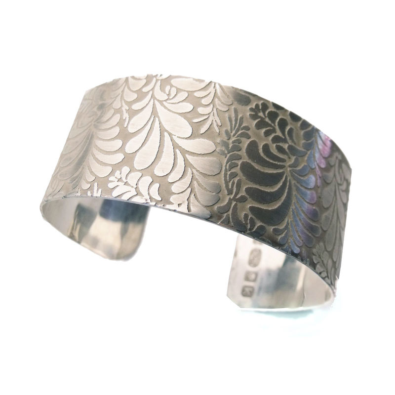Volutes Photo etched sterling silver Cuff Bracelet with floral pattern - medium - product images  of