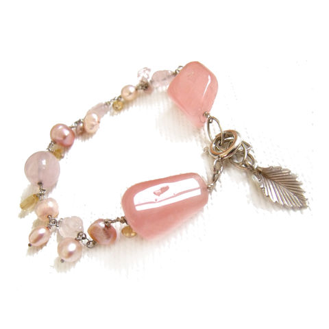 Rose,quartz,,pink,Pearls,and,Citrine,Bracelet,in,Sterling,Silver,colouful bracelet, handmade jewellery, catherine marche london, rose quartz bracelet, ilthotherapy jewellery,spring colous, pink bracelet, lemon yellow, citrine abundance, pink freshwater pearls