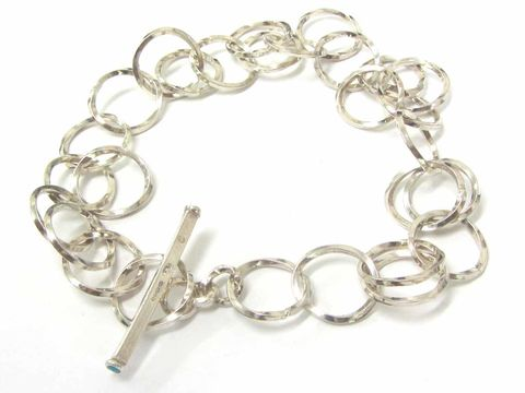 Sterling,Silver,Bracelet,with,twisted,links,turquoise jewellery, links bracelet, silver chain, handmade chain jewellery, catherine marche fine jewellery, london jeweller, twised links