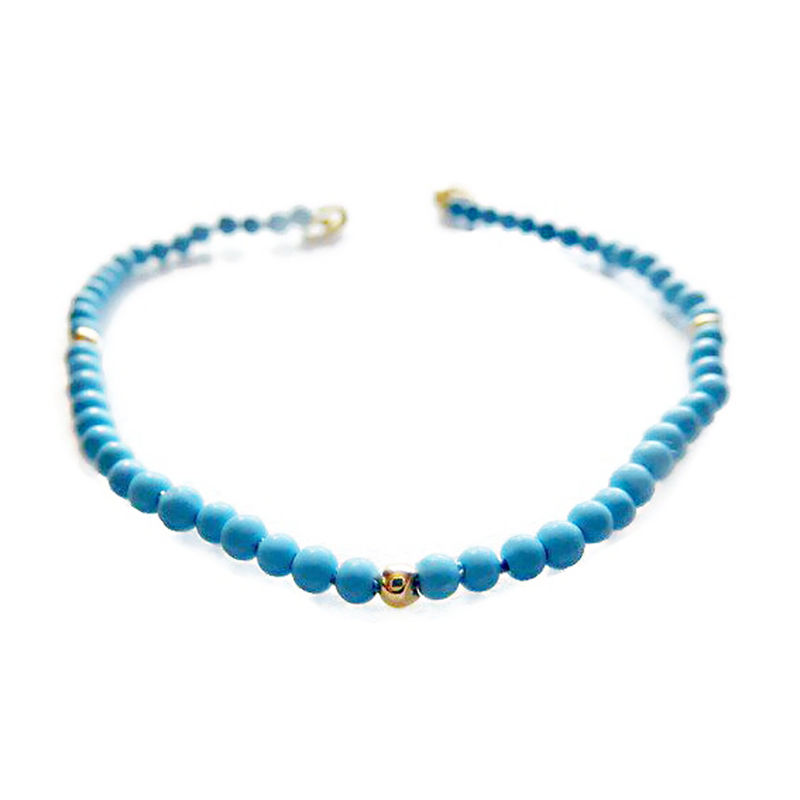 Beaded Turquoise Bracelet in 18ct yellow gold - product images  of