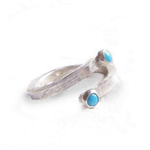 You,and,Me,Sterling,silver,open,crossover,ring,with,turquoise,cabochon,gemstones,handmade Jewelry,you and me ring, sterling silver Ring,Adjustable ring,tiny gemstones,sterling silver,turquoise cabochons, silver and turquoise jewelry,catherine marche jewellery,london made,made in the UK