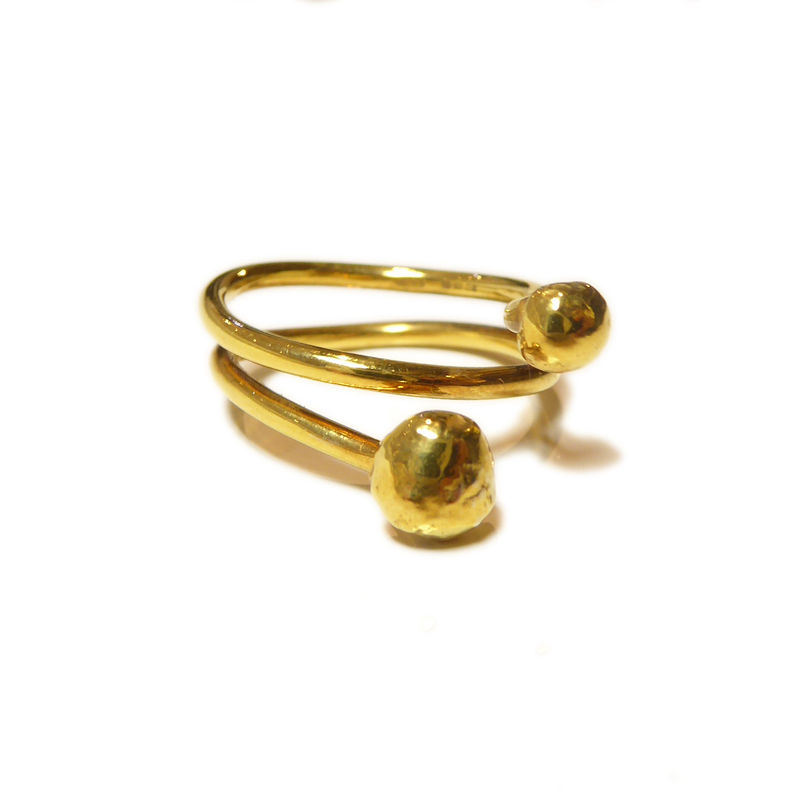 Wrap around 18K yellow gold ring with pebbles - product images  of
