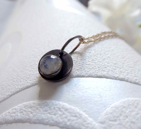 Oxidised,Moonstone,Necklace,in,sterling,silver,circle pendant, circle necklace, disc necklace, birthstone necklace, graduation presemt, catherine marche fine jewelry, recycled silver, fine gemstones