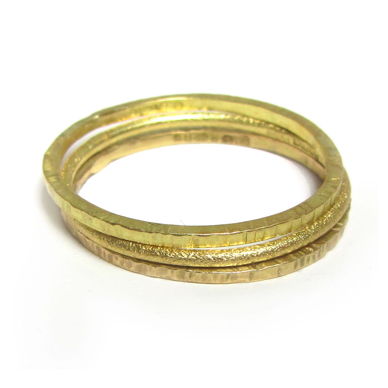 Set of three Mini Stacking Rings in solid 18ct yellow gold - Textured Gold Rings - product images  of