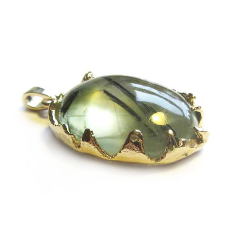 18ct,gold,Pendant,with,Prehnite,and,Diamonds,bespoke jewellery, one of a kind jewelry, handmade in England, London Jeweller, prehnite pendant,catherine marche, french designer