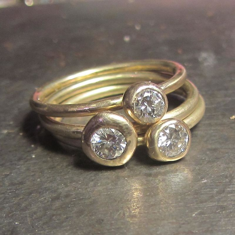 Diamond Solitaire Gold Stacking Rings - product images