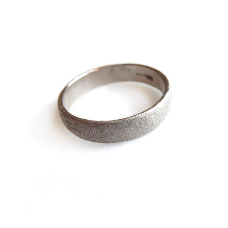 Personalised 18ct white Gold Textured Ring for him and her - product images  of