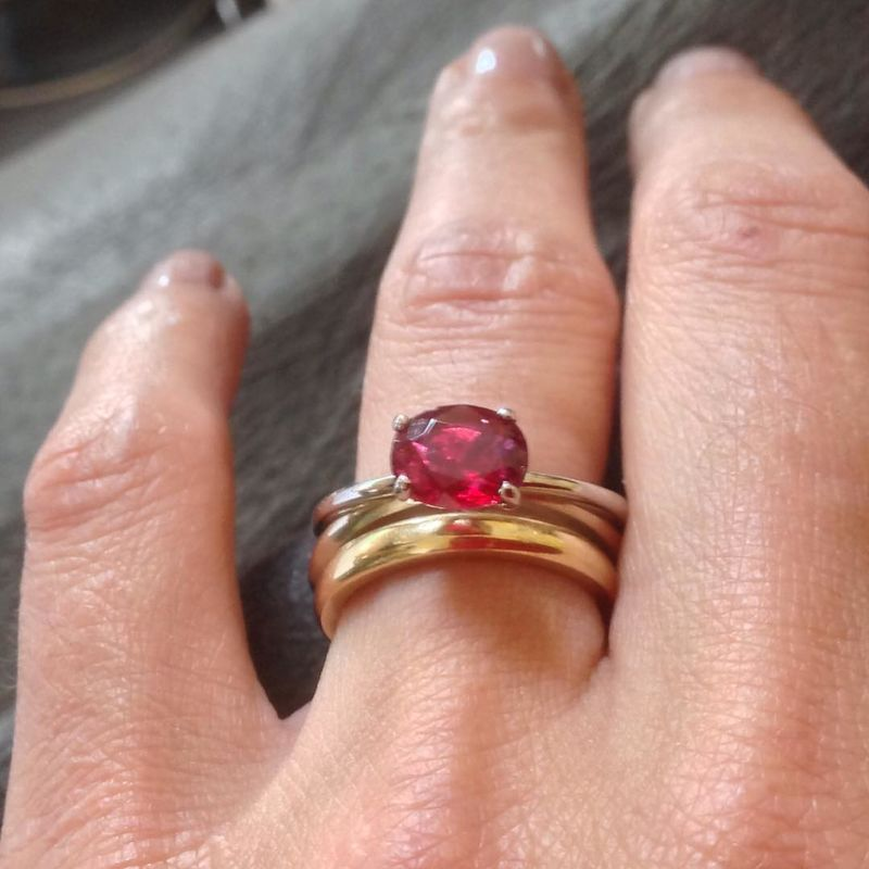 Bespoke Red Spinel and Platinum Ring - product images  of