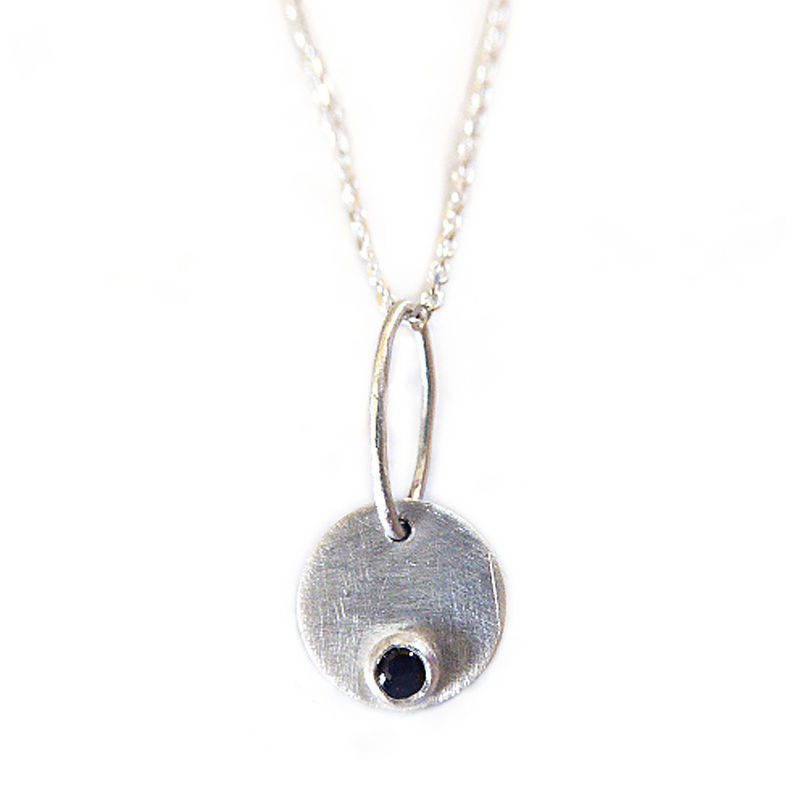 Positivity Talisman Black Onyx Gemstone pendant Necklace  sterling Silver   - product images  of