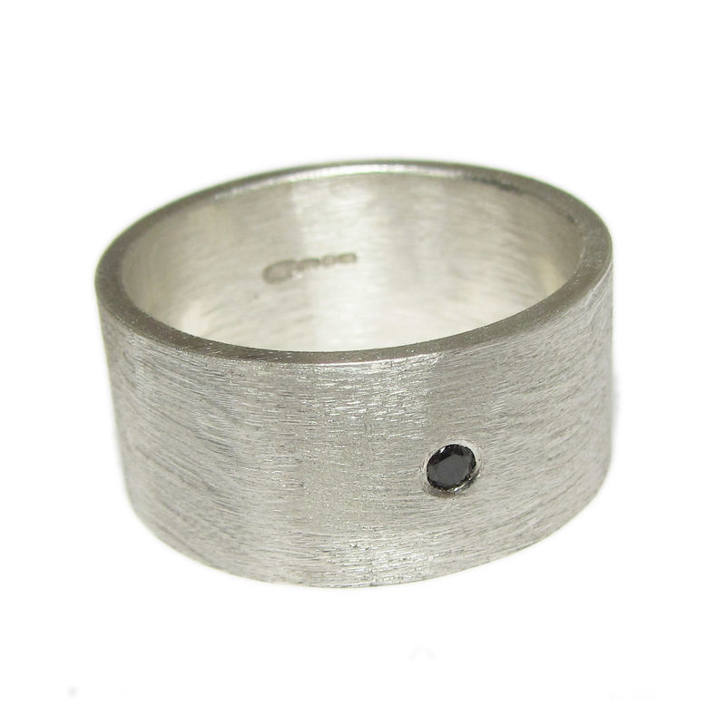 Wide Sterling Silver Band with a Black Diamond - product images  of