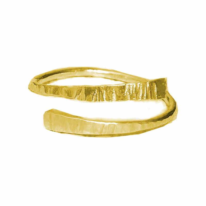 Textured Bark Open Adjustable Gold Ring - product images