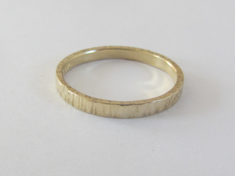 Textured Bark 18ct recycled gold wedding band, ethical wedding - product images  of