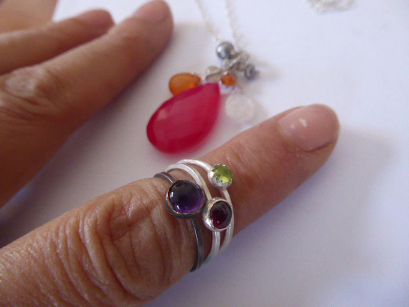 Talisman necklace and bespoke stacking rings amethyst garnet peridot - product images  of