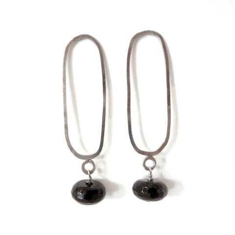 Onyx,Drop,Earrings,long silver earrings, ethical fine jewellery, catherine marche, french chic, onyx drop earrings, recycled silver, shop handmade, supportyourlocaljeweller