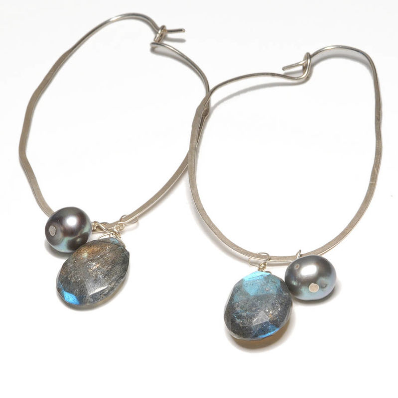Long Teardrop Earrings with Labradorite and Pearls  - product images  of