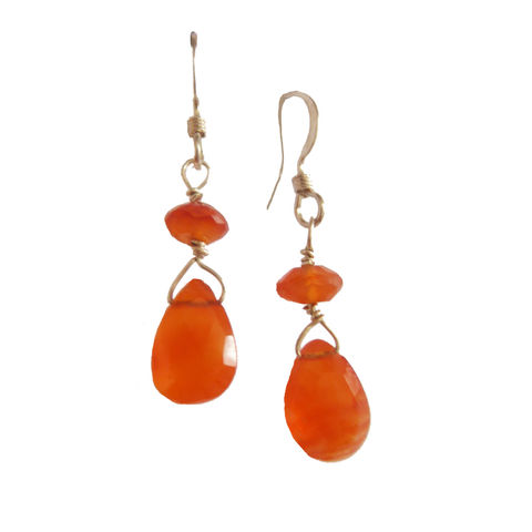 Tangerine,Carnelian,Earrings,orange earrings, teardrop earringsm recycled silver, catherine marche, gift for her