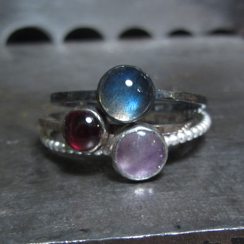 Trinity,Labradorite,Garnet,Amethyst,Mini,Stacking,Rings,Trio,Grey Labradorite ring,  garnet ring, amethyst ring, sustainable jewellery, ethical recycled silver, Drop Earrings, Grey  pearls earrings, handmade jewellery, London jeweller, Catherine marche, supportyourlocalbusiness, mini stacking ring, cabochon