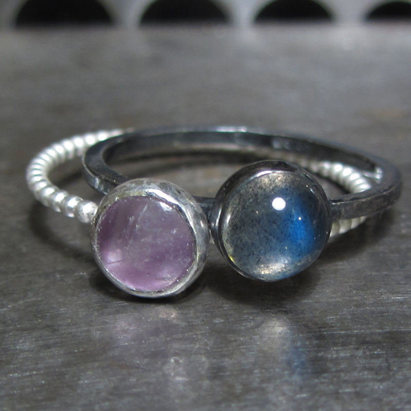 Trinity Labradorite Garnet Amethyst Mini Stacking Rings Trio - product images  of