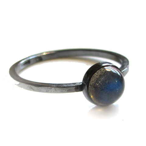 Oxidised,Grey,Labradorite,Mini,Stacking,Ring,Grey Labradorite ring, sustainable jewellery, ethical recycled silver, Drop Earrings, Grey  pearls earrings, handmade jewellery, London jeweller, Catherine marche, supportyourlocalbusiness, mini stacking ring, cabochon