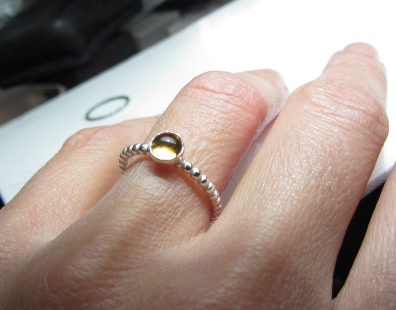 Minimalist Destiny yellow citrine and moonstone silver ring - product images  of