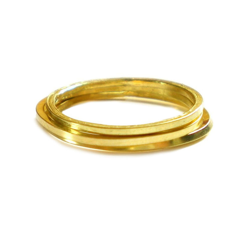 Set of 3 minimalist rings in 18ct gold - product images  of