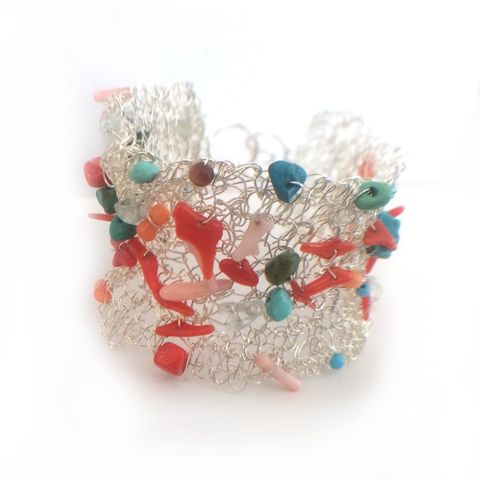 La,petite,Sirene,Mermaid,Bracelet,with,red,Coral,and,Turquoise,coral jewellery, handmade silver cuff, fairy tale jewellery, la petite sireine, ethical jewellery, sustainable fashion, turquoise and coral bracelet, wide silver cuff, italian coral