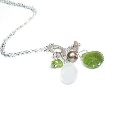 Greener,the,grass,Talisman,Cluster,Necklace,in,sterling,silver,925,Talisman necklace, cluster necklace, green garnet jewelry, moonstone pendant, good luck necklace, talisman pendant, white baroque pearl, tear drop charms