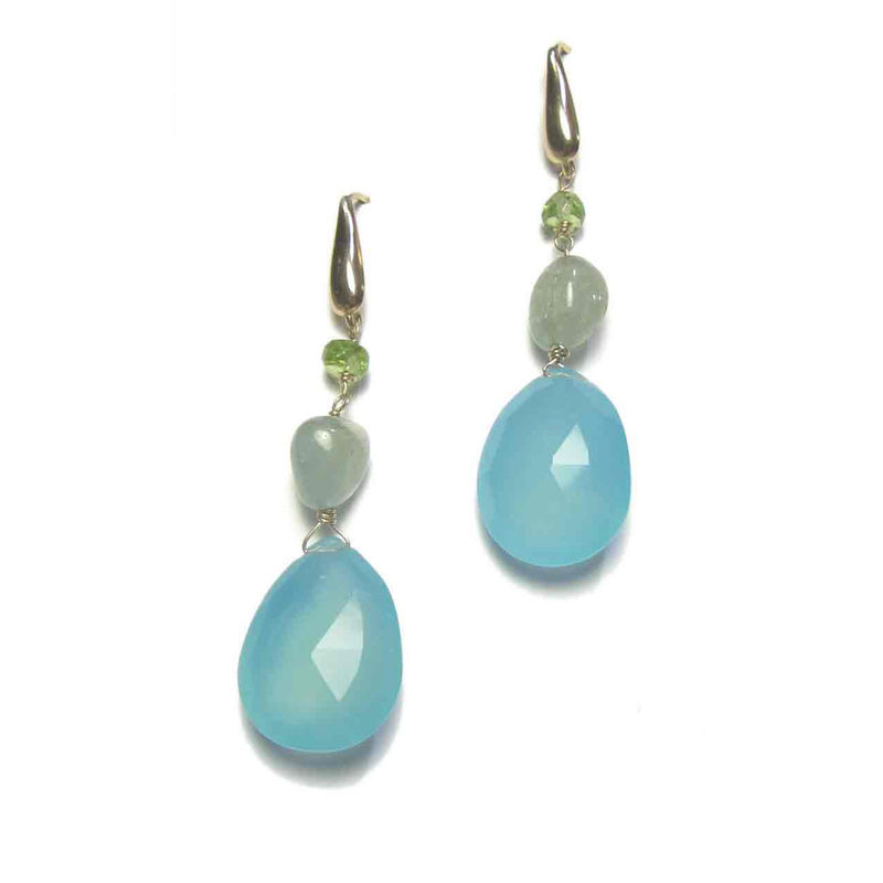 Aquamarine Sapphire Chalcedony 18ct 18K gold Earrings - product images  of