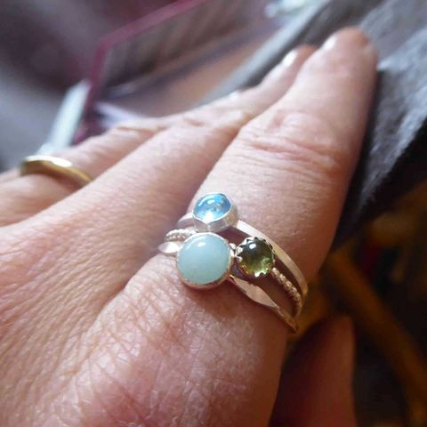 Trinity,Set,of,3,mini,stacking,rings,Bleu,Vert,minimalist jewellery,blue topaz peridot amazonite rings,handmade ethical jewellery, set of recycled silver staking rings, ethical jewelry, catherine marche fine jewellery, rings stack, french designer
