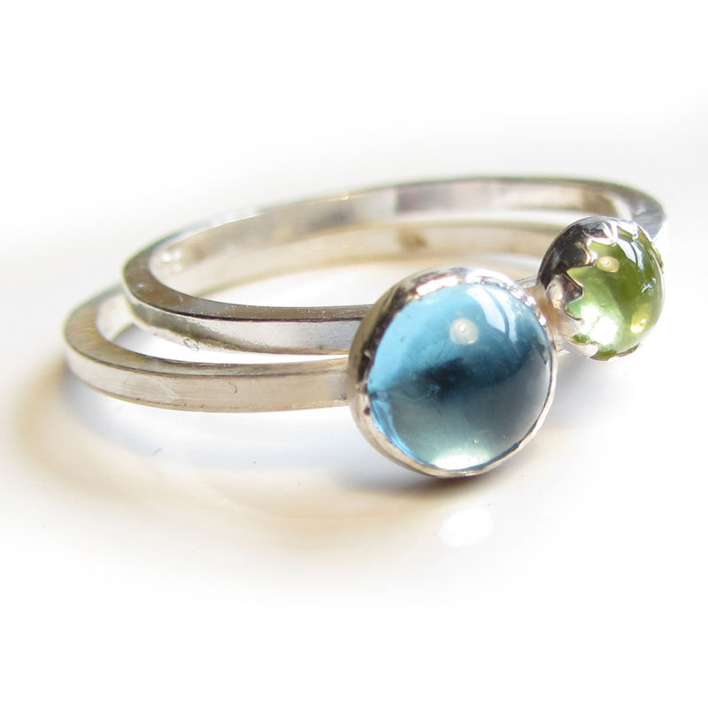 Trinity Set of 3 mini stacking rings Bleu Vert - product images  of