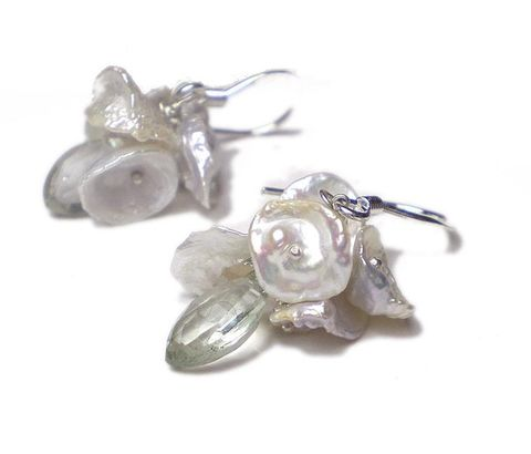 Yumiko,Keshi,Pearls,and,Prasiolite,Earrings,prasiolite earrings, pearls earrings, keshi pearls, recycled silver, catherine marche