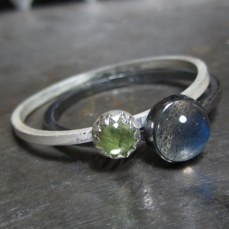 Trinity Labradorite Moonstone Peridot Mini Stacking Rings Set - product images  of