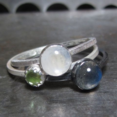 Trinity,Labradorite,Moonstone,Peridot,Mini,Stacking,Rings,Set,Grey Labradorite ring, peridot ring, moonstone ring, set of stacking rings, sustainable jewellery, ethical recycled silver, handmade jewellery, London jeweller, Catherine marche, supportyourlocalbusiness, mini stacking rings