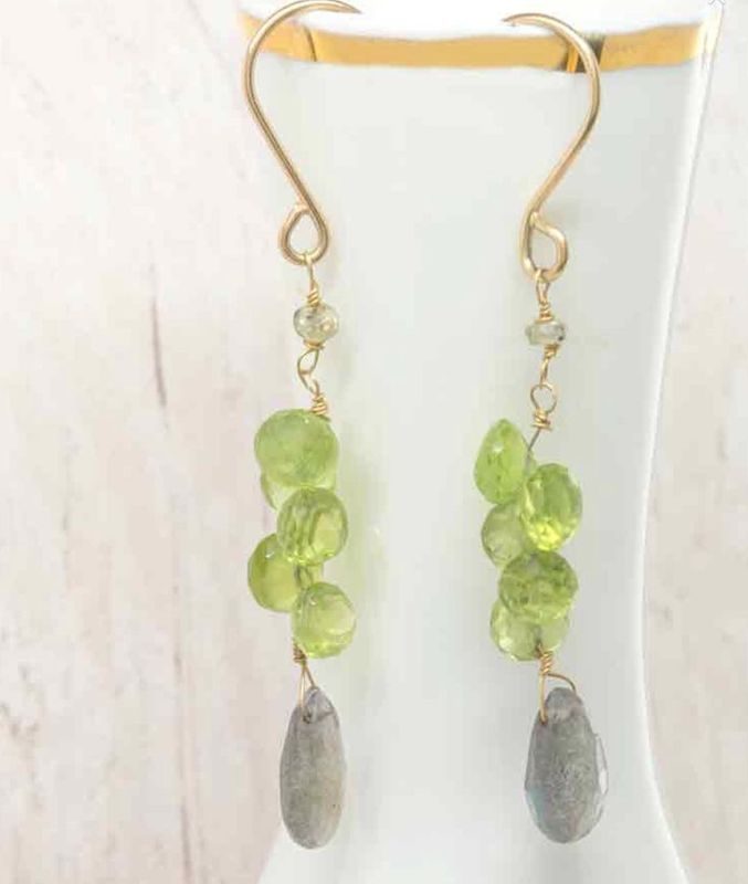 Peridot Sapphire and Grey Labradorite Gold Earrings - product images  of