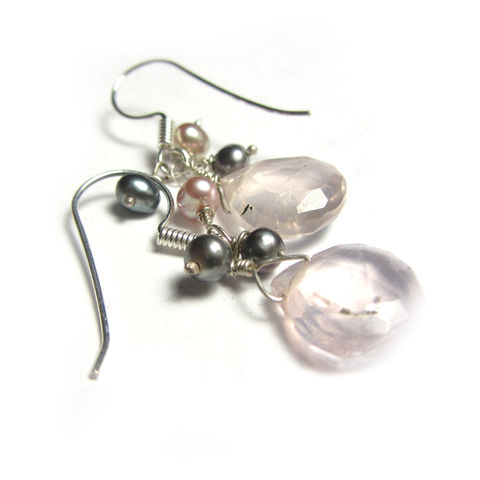 Poudre,and,Ash,Earrings,pink pearls, powder pink jewellery, pearls earrings, classic pearls, catherine marche jewellery, fine jewellery, rose quartz and pearls, recycled silver, pink and grey earrings