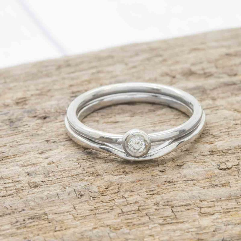 Curved Guard Ring in 18ct Recycled White Gold - product images  of