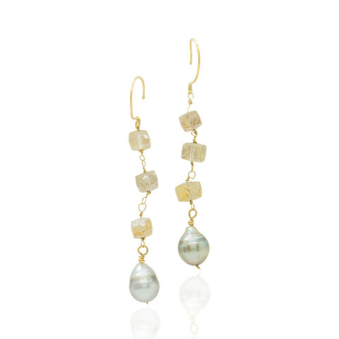 18ct,Gold,Earrings,with,Tahiti,Pearls,and,Rutilated,Quartz,tahitian pearls earrings, long drop earrings, sustainable jewelry, grey pearls, golden rutiles, demi fine jewellery, catherine marche fine, ethical jewellery, recycled gold