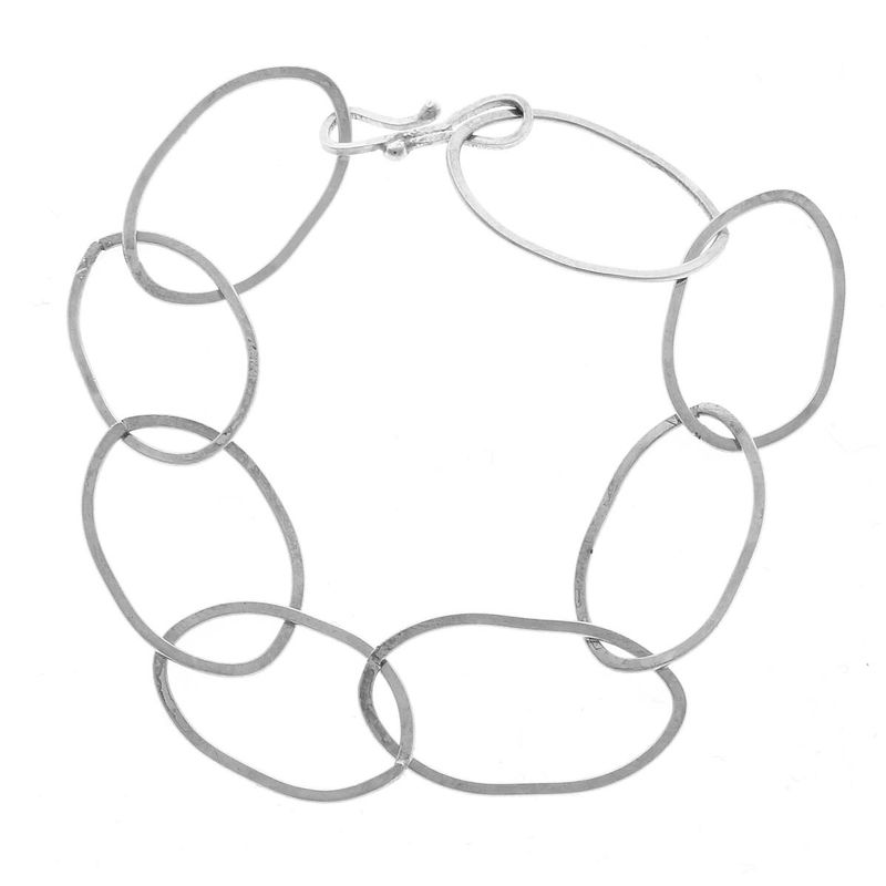 Sterling Silver handmade Chain Bracelet with Oval links - product images  of