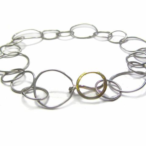 Rondor,18ct,gold,and,Sterling,Silver,Bracelet,handcrafted Bracelet,handmade chain,sterling silver,18ct yellow gold,yellow,loops,round circles,goldsmith,luxe,luxury,gift for wife,jewellery for women,ethical gold,18k yellow gold,solid gold,or jaune,argent massif
